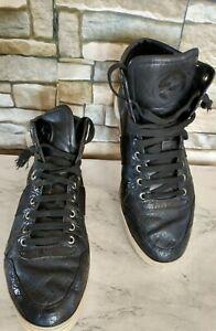 GUCCI Men's 221825 GG Croc Embossed Web Stripe Black High Top Sneakers Sz 8