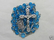"""† """"TO BE BLESSED"""" 50% OFF SALE SILVER TONED & LIGHT BLUE FACETED GLASS ROSARY †"""