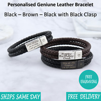 Rome Brown Black Leather & Stainless Steel Mens Personalised Engraved Bracelet