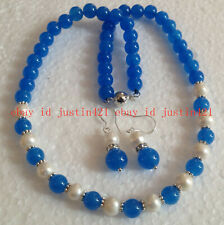 NEW White Akoya Cultured Pearl/Blue Jade Round Beads Necklace Earrings Jewelry