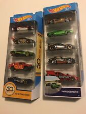 Lot Of Two Hot Wheels Five Car Packs Hw 50Th Track Stars In HW Horse Power