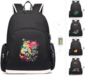 Splatoon 2 inkling laptop backpack USB charging travel Bag teenagers School Bags