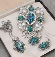 RARE Vintage Green Blue Fire Opal Glass Large Brooch Earring Pendant Set