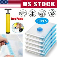 10pcs Vacuum Storage Bags Seal Space Saving Clothes Quilts Organizer w/Hand Pump