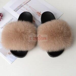 Fashion Women's Fluffy Real Fox/Raccoon Fur Slides Slipper Sandals Flat Shoes