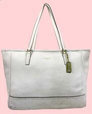 COACH 23576 CITY Chalk Saffiano Leather MD E/W Tote Handbag Msrp $298