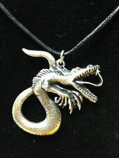 PENDANT PEWTER CHINESE DRAGON HEADS SERPENT NECKLACE HAND CRAFTED UK FINISH NEW