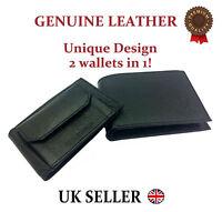 Mens Genuine Leather Wallet Designer J Wilson Gents Purse card coin brown black