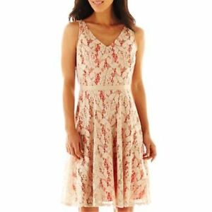 Danny & Nicole Lace Fit-and-Flare Dress Size 12 New Msrp $70.00