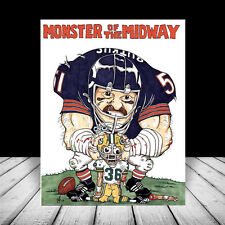 New DICK BUTKUS in Chicago Bears #51 jersey & helmet POSTER ART, artist signed