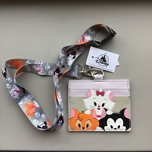Disney Loungefly Cardholder Lanyard Dogs & Cats Parks Series Marie Oliver Figaro