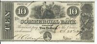 1839 Millington Commercial Bank Maryland $10 Bank Note #278 G20 maid with coins