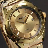 AgentX Luxury Men's Gold Date Sport Quartz Analog Stainless Steel Wrist Watch