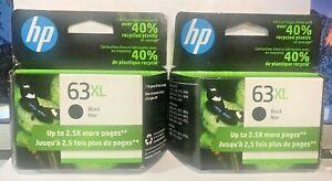 NEW Genuine HP 63XL Black Ink Cartridge~~HIGH YIELD HP 63XL NEW IN PACKAGE (2)