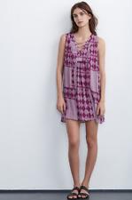 VELVET By Graham & Spencer Sarita Mali Gauze Print Lace Up Dress Purple $178 B4
