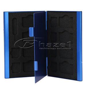 15 in 1 SIM + Micro SD Card Alluminium Storage Case - Blue