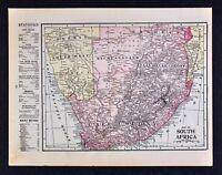 1905 Crowell Map Cape Colony South Africa Rhodesia Orange River Natal Railroads