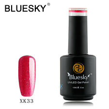 XK33 Bluesky Soak Off UV LED Gel Nail Polish Fiery Pink Gold Glitter