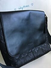 *NWT* Coach Men's Charles Small Embossed Signature C Messenger Bag F72220 Black