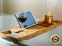 Wooden Bath Caddy Tray Bamboo Bathtub Organizer Wine Tablet Holder Adjustable