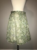 J. Crew Cream, Green and Blue Silk Floral Print Skirt, Size 0