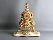Important Pendule Baroque Paris Bronze D'Or avec Base Marbre
