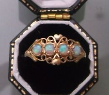 9ct Gold Women's Opal Ring Four-Stone Weight 1.6g Size N 1/2 Stamped Quality