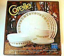 Vintage Corelle Corning Butterfly Gold 16 Piece Dinnerware Set