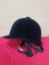 New but old black vintage velvet Riding hat size 6 7/8- 56cm  with chin strap