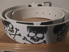 White with Black skull and bones Genuine Leather Belt Size 34-36 M