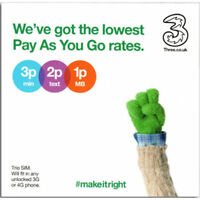 UK 3 Three SIM Card  UK Triple cut Standard/Micro/Nano pay as you go 3G 4G