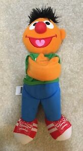 "Sesame Street Ernie Plush Soft Toy 10"" Hugger Figure Green Heart Shirt Hasbro"