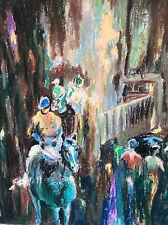 Gouache expressionniste thématique hippique attribuée à Mireille Bailly