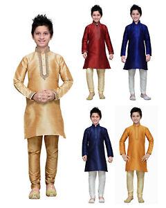 Dupion Silk Kids Kurta Pajama 1-14 Years Children Dress Tunic Churidar Pajama