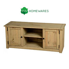 Panama Flat Screen TV Unit 2 Door 1 Shelf Natural Oak Wax Pine P and N Homewares
