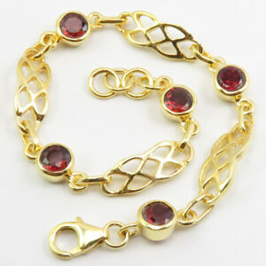Yellow Gold Plated 925 Sterling Silver New Fashion Jewelry GARNET Bracelet 19 cm