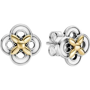 Pandora Genuine Two-tone Flower Stud Earrings 299349C00 Silver S925 ALE