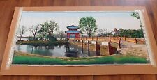 Vintage Chinese Asian Tapestry Hand Colored Silk Print Landscape Framed Large