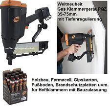 Gas Klammergerät TJEP PQZ-75 GAS 2G + 5x Gas + Heftklammern Senco Prebena BeA Q