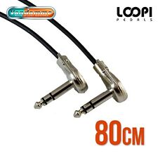 "80cm 1/4"" Stereo Pancake Right Angle Effect Patch TRS Lead - Van Damme Cable"