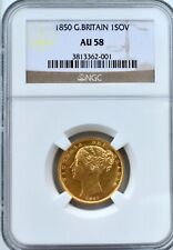 More details for 1850 gold sovereign victoria ngc au58 great britain