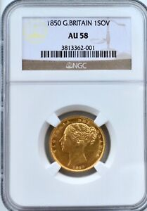 1850 Gold Sovereign Victoria NGC AU58 Great Britain