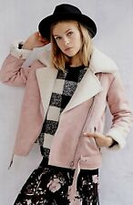 NEW Urban Outfitters Glamorous pink ivory Faux Shearling Sherpa Moto Jacket S