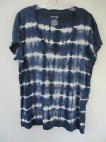 St. John's Bay Women's Size Large Cotton Striped Short Sleeve Blouse Shirt Top