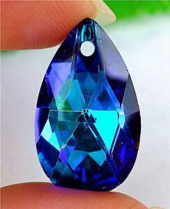 28x17x9mm Faceted Blue Titanium Crystal Teardrop Pendant Bead BV51885