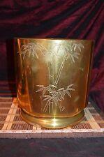 "Asian Large Brass Planter, Bucket, Trash Can Bamboo Design 9 3/8""x9 1/2"""
