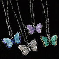 Elegant 3D Butterfly Crystal Pendant Necklace Silver Long Chain Jewelry Decor
