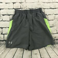 Under Armour Men's Running Shorts Long Lined Gray Green Size Medium Fitted