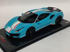 1/18 MR Collection Ferrari 488 Pista Piloti Baby Blue ONE OFF Carbon Base