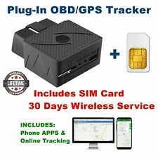OBD GPS Tracker for cars INCLUDES SIM Card Real-Time Tracking Service Phone APPs